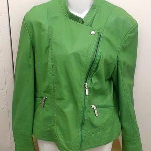 Bernardo zipper leather Racer Motto Jacket Green